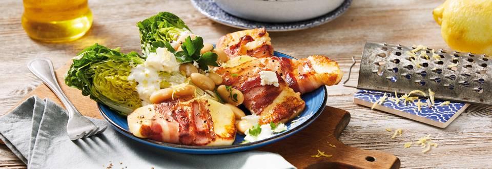 Žepki s slanino in sirom halloumi