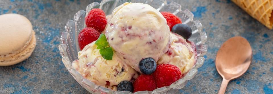 Domač vanilijev sladoled z jagodičevjem