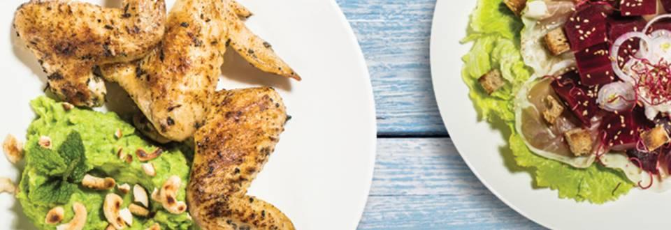 Hrustljave perutničke na grahovem pireju s praženimi oreščki