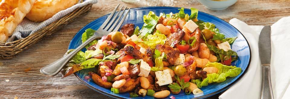Grška mlačna mesna solata